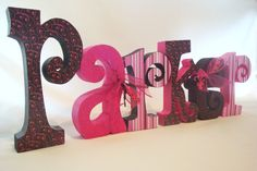 Shelf Letters Brown and Pink for Nursery Decor by thepatternbag, $66.00