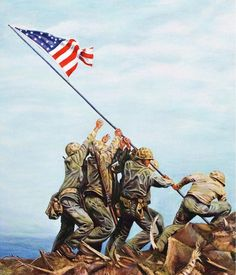 U s Flag 14 8 x 10 Tee Shirt Iron on Transfer Iwo Jima Military Life, Military History, Military Quotes, Military Pictures, Military Art, American Flag Wallpaper, Battle Of Iwo Jima, Patriotic Pictures, Native American Pictures