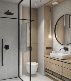 Interiors, Architecture + Life on Check out the towel rail in this beautifully compact bathroom. How clever Design by interno_izagajewska Bathroom Tile Designs, Bathroom Design Luxury, Modern Bathroom Design, Luxury Hotel Bathroom, Bathroom Ideas, Hotel Bathrooms, Bathroom Pictures, Bath Design, Bathroom Organization