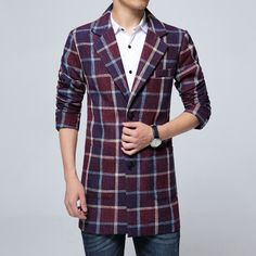 quality trench coat men fashion new casual mens overcoat single breasted slim fit plaid mens long coat 5XL-M