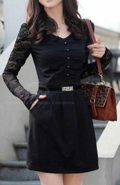 Black outfit - black dress - robe noire manches longues