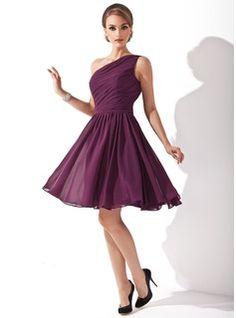 Vestidos princesa/ Formato A Um ombro Joelho de comprimento Chiffon Vestido de madrinha com Pregueado (007000918) - JJsHouse