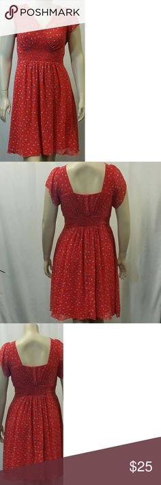 City Chic Smocked Waist Dress Chiffon  A Line  V Neck  all over floral print   Polyester   Used Condition   Size M City Chic (18)  Length 42 Bust 21 Waist 18   Love this style,but not the right size?  Send me a message and I will raid my closet for you City Chic Dresses