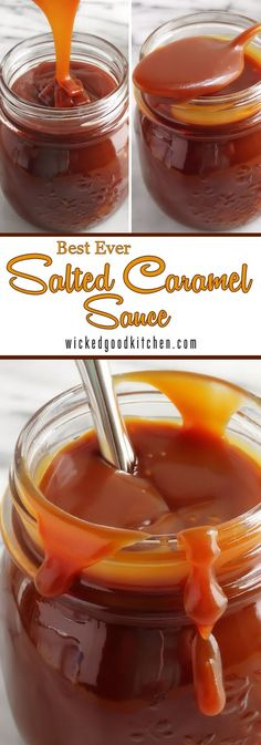 """Homemade Salted Caramel Sauce ~ Using the BEST technique that chefs use (""""the dry method"""" vs. """"the water method"""") to prevent crystallization. Luscious, velvety smooth (never grainy), buttery rich and deep amber, this caramel sauce is easy to prepare, much better than store bought and ready in just 15 minutes! Perfect for #Christmas #Holidays desserts!"""
