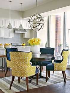 Dining Area - Love the dining chairs - contrasting fabrics on front & back with a great chandelier over the round wood dining & house design home design Dining Room Colors, Dining Room Design, Dining Area, Dining Table, Round Dining, Blue Dining Room Furniture, Round Round, Round Tables, Small Dining