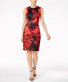 99a53bcb3f9794 CALVIN KLEIN Calvin Klein Printed Scuba Sheath Dress.  calvinklein  cloth    dresses Scuba