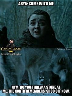 Arya Stark, Nymeria, direwolves, game of thrones season 7 funny humour meme