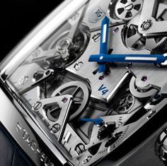 Tag Heuer Monaco Watch - You're looking at the world's first watch with belt drives, linear mass and ball bearings. Tag Watches, Cool Watches, Watches For Men, Tag Heuer Monaco, Dream Watches, Luxury Watches, Authentic Watches, La Mode Masculine, Elegant