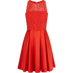 Karen Millen Lace Prom Dress, Red (3.265 CZK) ❤ liked on Polyvore