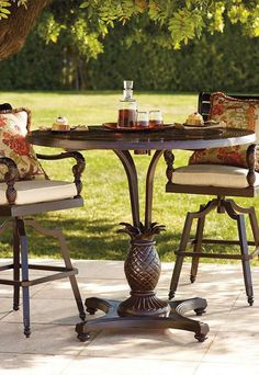 The British Colonial Round Bar Table is the perfect place to relax and entertain this summer and brings handsome character to your outdoor space.