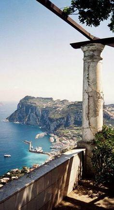 Overlooking Capri harbor from the rotunda in Villa San Michele, Italy