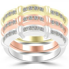 0.78 Ct. Tri Color Stackable Ring Set Micro Pave Wedding Band 14k Gold - SRS-016 - Stackable Rings - Wedding Bands