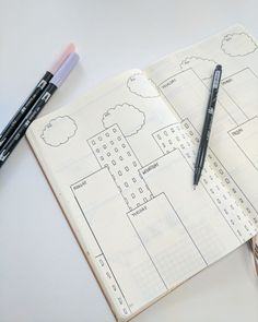 Bullet Journal WEEKLY SPREAD IDEAS for STUDENTS! ...I love this city-building spread!