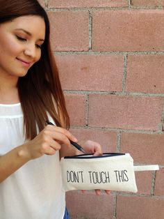 Pencil case with quote. Funny makeup bag, cosmetic pouch. White organic cotton zipper pouch. Back to school accessories