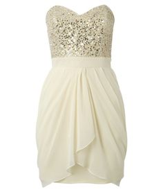 """The """"Bust Full of Sequins"""" Dress in Cream with Gold"""