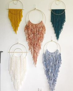 All of these sizes and colors are available in anyway you can dream them up! DM me for your own custom order. Crafts To Sell, Home Crafts, Arts And Crafts, Yarn Wall Art, Macrame Wall Hanging Diy, Deco Boheme, Macrame Design, Boho Diy, Bohemian