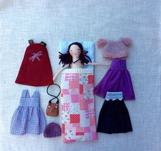 Louise sleeps in a sleeping bag with all her clothes tucked away in a chest of drawers. This catch-all bag is perfect to take along for long car rides or to playdates. She is a dress-up cloth doll made for active, quiet and imaginative play for children of all ages. Made in a pet free, smoke free environment, she is approximately 13 inches (33cm) tall. The clothes are closed with Velcro making them easy to put on and take off. The body may be cleaned with a damp cloth. Gentle play is…