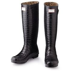 { Hunter & Jimmy Choo } Crocodile Wellies ~ Rare! Exclusive black crocodile texture rubber Wellies from designer shoe brand Jimmy Choo teamed up w/ legendary rain boot makers Hunter! This limited edition pair is sold out & hard to find!  I purchased at Saks a few years ago, but never ended up wearing them. New w/ box, but the box is in poor condition due to being in my garage. Shoes are in excellent condition, they have some of the white stuff that Hunter boots get on them, but are easy to…
