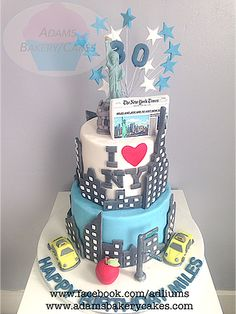 New York Themed Cake With Statue Of Liberty Topper