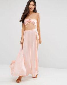 ASOS Satin Split Maxi Beach Skirt Co-Ord