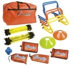 """Champion Champion Sports Speed And Agility Kit (colors may vary) by Champion Sports. $119.89. Kit includes: ? 1 Agility ladder 5 meter x 2 ? 2 Each: 6"""", 9"""" & 12"""" hurdles ? Speed chute ? Speed resistor ? Speed harness ? Reaction ball ? Evasion belt ?10 SCX cones ? Carrying bag"""