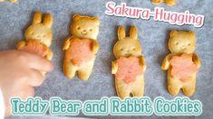 Sakura-Hugging Teddy Bear and Rabbit Cookies (Tbsp Measurement Recipe) 桜...