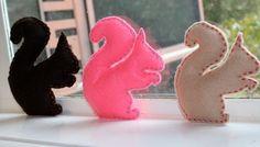 Felt squirrel set  silhouette toys by handmadebygemmie on Etsy, $20.00
