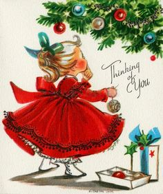 Vintage Christmas Cards Red Dress Gifts Tree Ornaments Girl