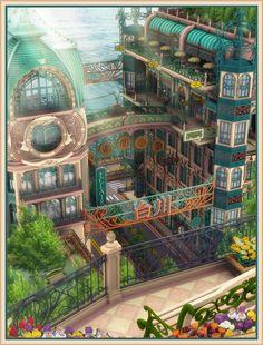The River by owen-c on DeviantArt Fantasy City, Fantasy Places, Fantasy World, Fantasy Art Landscapes, Fantasy Landscape, Japon Illustration, Scenery Wallpaper, Environmental Art, Anime Scenery