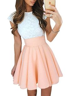 26ab03944d60 Ninimour Women s Trendy Splicing High Waist Pleated Lace Mini A-line Dress  Orange S