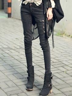Fashion Women Skinny Slim Zipper Decorated Jeans Denim Pencil Pants