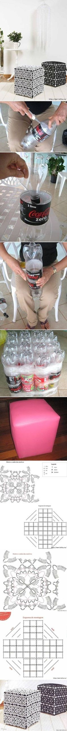 DIY Ottoman Out of Plastic Bottles