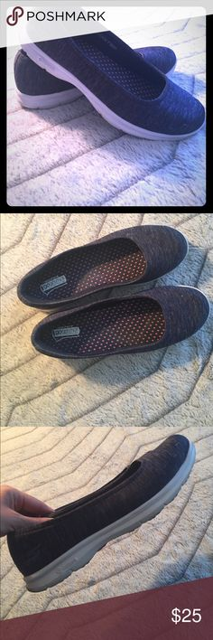 Scetchers gostep slip ons Super cute and comfy Blue Scetchers gosteps with goga mat technology slip ons , these have an amazing denim blue color with a white sole, footbed is super comfortable Shoes Athletic Shoes