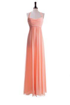 Stylish Floor Length Chiffon Dress With Haltered Neckline For Bridesmaids