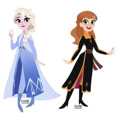 Elsa & Anna in Tangled: The Series Art Style   Frozen 2