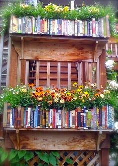 Love the idea of painting book spines on the outside of the planter box!