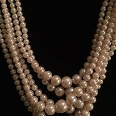 "6 strand Vintage pearl rhinestone clasp 6 strand real pearl vintage necklace from 1950's 15"" shortest strand Jewelry Necklaces"