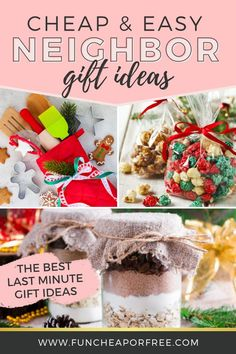 30 Cheap, Easy and Last-Minute Neighbor Gift Ideas - Fun Cheap or Free Christmas Neighbor, Cheap Christmas Gifts, Neighbor Gifts, Homemade Christmas Gifts, Cheap Gifts, Homemade Gifts, Christmas Time, Christmas Crafts, Christmas Candy