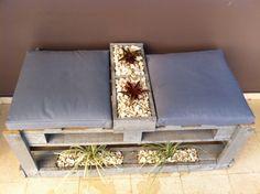 Jardín en banco hecho de paletas!