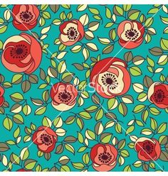 Seamless vintage rose pattern on green background vector on VectorStock®