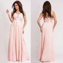 b67020110861 Eva Lola společenské šaty s kameny pudrově růžové