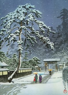 Japanese Ukiyo-e: Honmonji Temple in snow. Hasui Kawase. 1931 - Gurafiku: Japanese Graphic Design