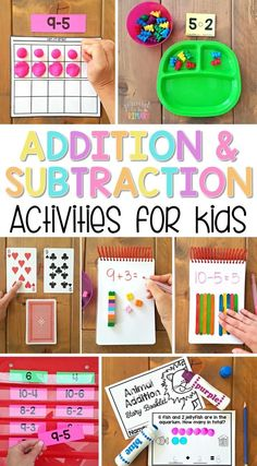 The ultimate spot for addition and subtraction to 20 activities for kids in Kindergarten and first grade. Tons of ideas and resources to teach children strategies for building math fact fluency, ways to solve word problems, and activities and games kids will love! A FREE printable addition equation sort activity is included!   #mathforkids #kindergartenmath #firstgrademath #addition #subtraction