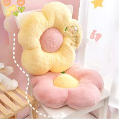 Tired of your back getting hurt while working or while relaxing? Be comfy with this Kawaii Pastel Flowers Soft Chair Cushion and say goodbye back pains! Kawaii Cat, Kawaii Shop, Kawaii Anime, Kawaii Plush, Funny Profile Pictures, Soft Chair, Pastel Flowers, Digital Wall, My New Room