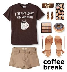 """""""Caffeine Fix: Coffee Break"""" by lgb321 ❤ liked on Polyvore featuring Ancient Greek Sandals, Hollister Co., Casetify, Morphe, Ashley Pittman, Glamour Dolls, Smashbox, coffee, polyvoreeditorial and coffeebreak"""