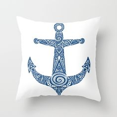 Pattern Anchor Art Print by Anchor Tattoo Design, Anchor Tattoos, Tribal Tattoos, Polynesian Tattoos, Foot Tattoos, Small Tattoos, Tatoos, Sailboat Drawing, Anchor Art