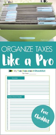 Check out this professional organizer's system for organizing tax documents (part of a home office organization series) | #taxorganization #taxchecklist #taxes