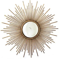 La Villette Antique Gold Hollywood Regency Sunburst Mirror ($527) ❤ liked on Polyvore featuring home, home decor, mirrors, fillers, frame, decor, backgrounds, circular, borders and circle