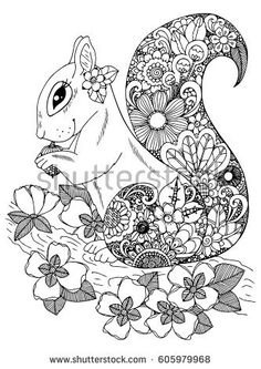 Vector illustration zentangl, squirrel with flowers. Doodle drawing. Coloring page Anti stress for adults and children. Black and white.