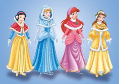 Disney Princess 'Holiday Wishes' Paper Doll Kit by Casey Sanborn, via Behance